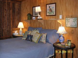 Meadows of Dan cabin photo - Queen Bedroom with Framed Needlework and Pillows