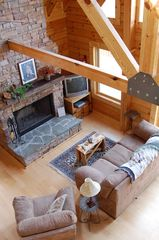 Jamestown cabin photo - Fireplace in living room with cathedral ceiling