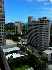 Waikiki condo photo - Maile Skytower and beyond to Fort DeRussy and the ocean.