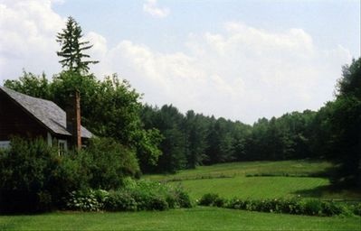View past the playhouse to the south pasture and woods beyond.