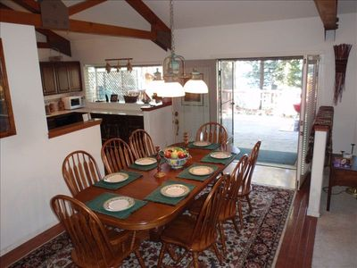 French doors from dining area onto deck. Great for entertaining.