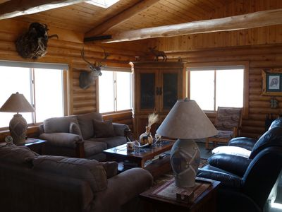 Cody chateau / country house rental - Upstairs Living area, there is a large TV inside the armoire.