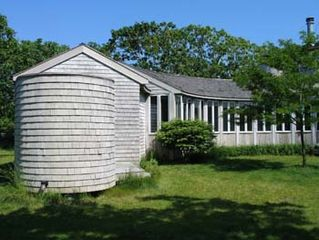 Chilmark house photo - A large and fun circular O/S abuts the bike/beach toy shed, connected w/a deck