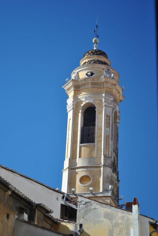 Tiled belfry to right of apartment