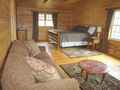 Kunkletown lodge rental - Suite 1 Log Room Upstairs - King and Queen Sleeper Sofa, Mini Room and Full Bath