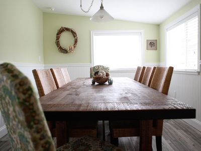 The dining room, with seating for eight adults and two children.