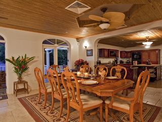 Cap Estate villa photo - Luxurious Open Dining Room With Bar and Fully-Equipped Gourmet Kitchen