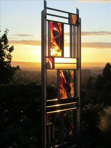 Garden Sculpture by Roger Thomas at Sunset