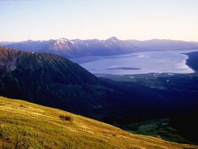 Looking down from Max's Mountain towards the Stowe and Turnagain Arm in Girdwood