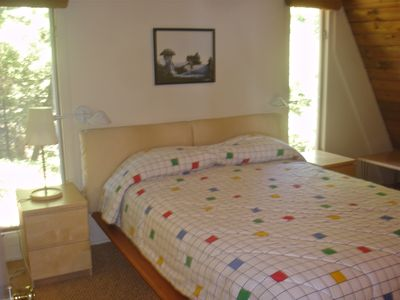 Harbor Springs cabin rental - Main bedroom with Queen size bed & adjoining Master bath.