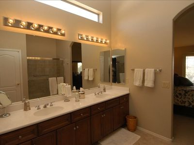 Huge Master Bath w/double sinks & shower & private commode room