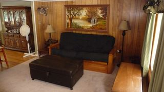 Arrowhead Lake house photo - Living room with futon and ottoman twin pull out