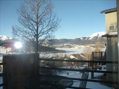 View of Lake Dillon & Buffalo Mountain from deck, living room & dining room