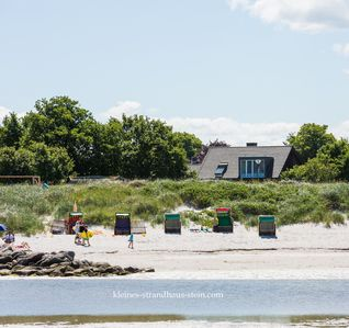 Right on the beach in Stein overlooking the Baltic Sea, free Wi-Fi - Meerblicksuite: 2 Schlafzimmer, Kamin