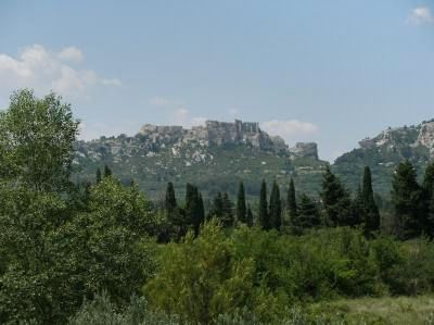 View of the Baux-de-Provence Castle from the terrace.