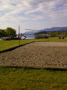 beach volleyball is at the beach 2' away