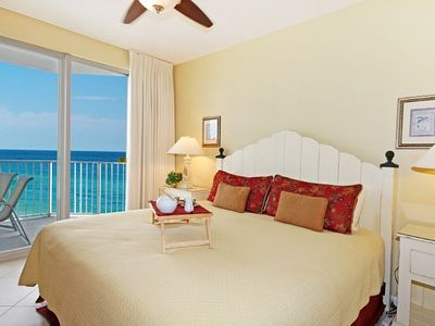 Master Bedroom with Gulf View opens to Large Balcony