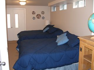 Vineyard Haven house photo - Fourth bedroom with two queens- door to outside