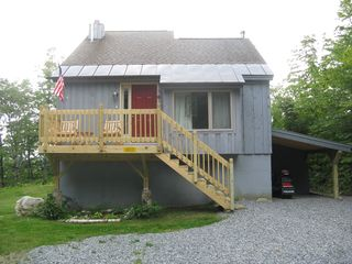 Windham chalet photo - Front with new deck and snowmobile storage