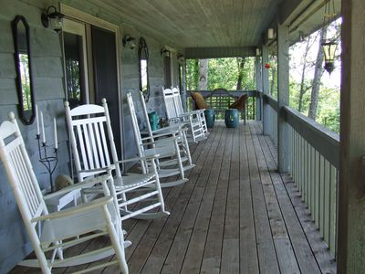 Expansive porch (# 1 of 3) overlooking the mountains