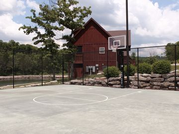 Basketball court right next to the pool/pavilion