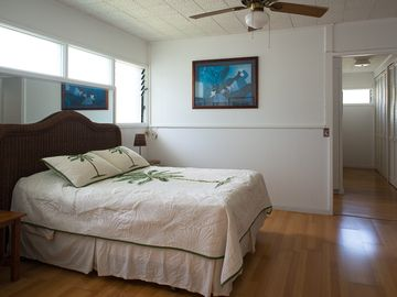 Waimanalo house rental - Clean and simple - bedroom with hallway to kitchenette and bathroom.