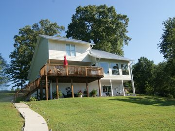 Lewis Smith Lake house rental - Lake side of the home. Gentle slope to the water