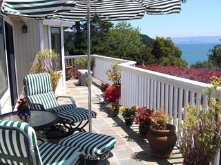 Tiburon house photo - Enjoy morning coffee or evening wine on bay view deck.