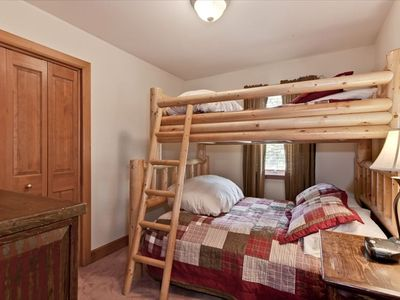 Upstairs double bunk - double bed on the bottom and twin on the top