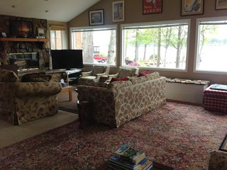 Lexington cottage photo - Living room with plenty of seating, 46' HDTV, 3 picture windows with lakeview.