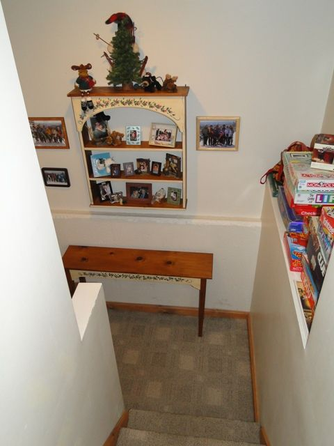 Staircase to Lower Level with Lots of Games and Puzzles for Family Fun!