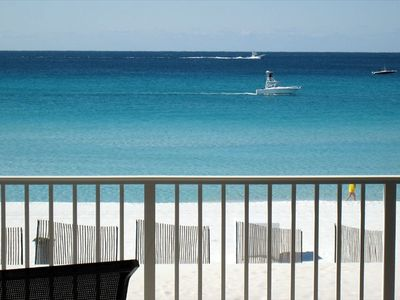View from the Balcony - White Sand, Blue Water, and Cobia Boats