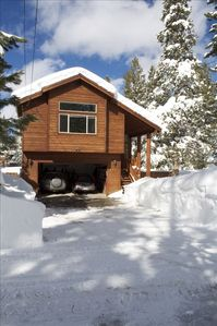 Christmas Valley house rental - A wide, flat driveway, plus garage parking for two vehicles.