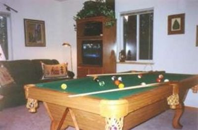 Family room with pool table/Bedrm 4 - Full/twin bunk and Q sleep sofa