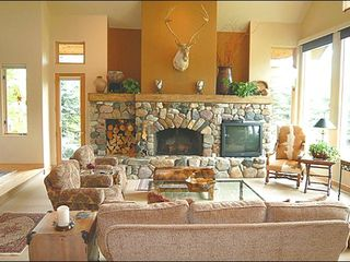 Sun Valley house photo - Sunny Living Room with Stone Fireplace