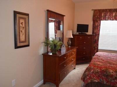 "Ample storage in master bedroom. 24"" HD 1080p TV and DVD player. Walk-in closet"