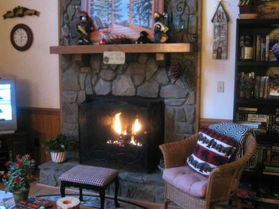 A fire-log burning fireplace to warm those cool, romantic nights....