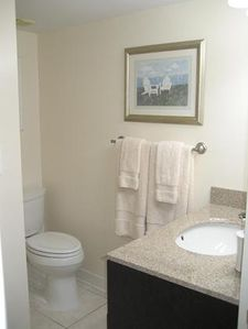 Private bath off 3 bedroom with new fixtures, ceramic tile & granite counter top
