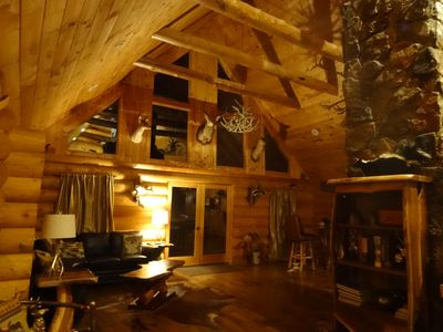 Full Log Cabin on 11 wooded acres near Franklin NC. Sleeps 16 in Beds.