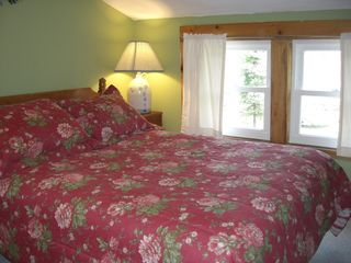 Woodstock house photo - Full bed in Loon Room with views of stream, Dam and Lake