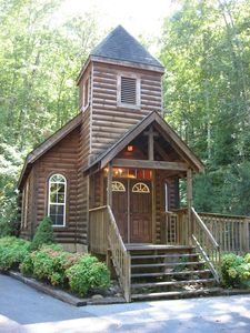 Rent this beautiful church at Country Pines Log Homes to renew your vows.