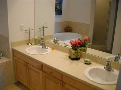 Master bathroom with double sinks, soaking tub with seperate shower