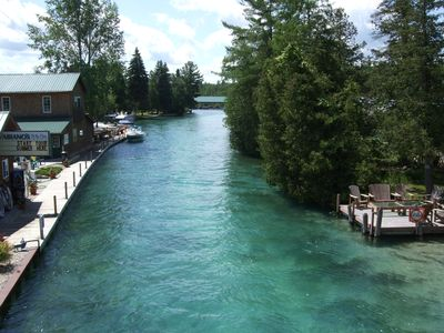 Torch River from bridge, 1200 feet north of cottage
