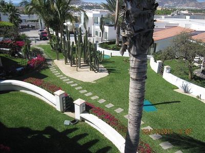 Another view from Decks of Green areas, manicured gardens, cacti-palms & trails