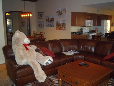 A friendly bear to welcome you to his cozy 'den' (great room)