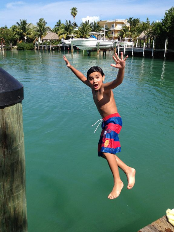 Jump of the dock. One of my kids favorite activities while at Hawks Cay!