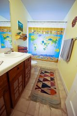 Austin house photo - Upstairs, colorful full bathroom : )