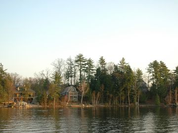 Camp in the fall. View from the lake.