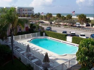 St Pete Beach condo rental - Heated pool and view of beach