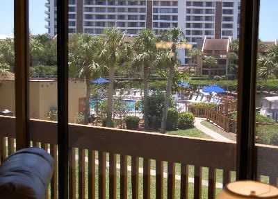 View of the pool and the marina from Great Room